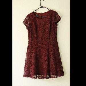 Maroon Wine Lace Thigh Dress
